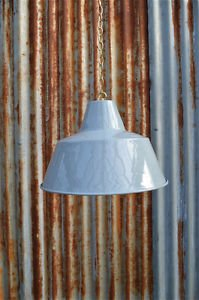 RETRO LARGE GREY INDUSTRIAL STYLE FACTORY CEILING LIGHT WITH HANGING CHAIN LGBC