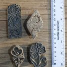 4 Indian antique hand carved wooden printing blocks fabric print block PB10