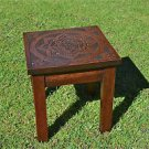 A lovely antique marriage stool hand carved oak 1946 folk art handmade