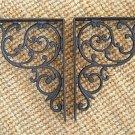 "Pair of antique Regency cast iron wall shelf brackets bracket 10"" x 8"" AL21"