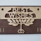 Arts and Crafts best wishes fret cut frame stylized vines sycamore rosewood 2