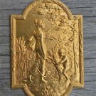Superb small Victorian gilt brass lady cartouche mount furniture ormalu RZ3