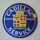 Heavy quality porcelain advertising sign Cadillac service garage plaque round