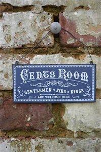 VINTAGE STYLE METAL GENTS ROOM DOOR WALL SIGN PLAQUE GENTLEMEN SIRS KINGS PP6