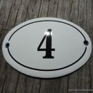 SMALL ANTIQUE STYLE ENAMEL DOOR NUMBER 4 SIGN PLAQUE HOUSE NUMBER FURNITURESIGN