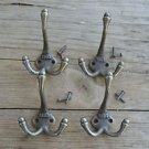 A set of 4 antique style cast iron 1883 coat hooks triple coathook c/w screws