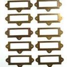 SET  OF 10 ANTIQUED BRASS FILE CABINET LABEL HOLDER NAME PLAN CHEST DRAWER LH2