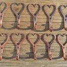 10 small solid copper Shaker heart hook American folk art wall door coathook