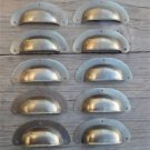 A SET OF 10 ANTIQUE PRESSED AGED BRASS DRAWER HANDLE FILING INDUSTRIAL PULL CB12