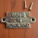 Small vintage solid brass MADE IN ENGLAND plaque sign furniture emblem