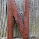 HANDCARVED WOODEN 3 DIMENSIONAL LETTER N SIGN FONT SHELF ART NAME LETTER