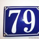 EDWARDIAN STYLE ENAMEL DOOR NUMBER 79 SIGN PLAQUE