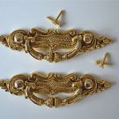 Pair of Victorian brass folliage drawer handle draw pull desk chest cabinet 2027