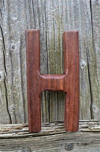 HANDCARVED WOODEN 3 DIMENSIONAL LETTER H SIGN FONT SHELF ART NAME LETTER