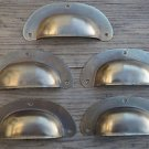 A SET OF 5 ANTIQUE PRESSED AGED BRASS DRAWER HANDLE FILING INDUSTRIAL PULL CB12