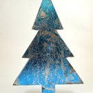 BEAUTIFUL 3D TIN METALIC BLUE DISTRESSED SHABBY CHIC CHRISTMAS TREE FREESTANDING