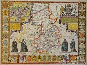 OLD COPY OF JOHN SPEED MAP OF CAMBRIDGESHIRE CAMBRIDGE TOWN PLAN