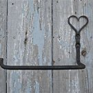 BEAUTIFUL HANDFORGED WROUGHT IRON SHAKER HEART TOILET ROLL HOLDER FOLK ART
