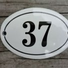 SMALL ANTIQUE STYLE ENAMEL DOOR NUMBER 37 SIGN PLAQUE HOUSE NUMBER FURNITURESIGN