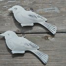 LOVELY PAIR VINTAGE STYLE PATINATED WHITE TIN HANGING BIRD ORNAMENT TREE HANGER