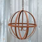 UNUSUAL HANDMADE WROUGHT IRON HANGING CANDLE ORB RIVETED IRON SPHERE LARGE