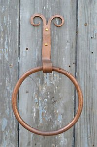 Curled top aged copper wrought iron towel ring holder folk art primitive CTC1