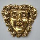 Antique style Bacchus head solid brass furniture mount ormalu god of wine H5