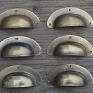 "A SET OF 6 ANTIQUE PRESSED AGED BRASS DRAWER HANDLE FILING INDUSTRIAL 3"" CB22"