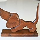 BEAUTIFUL ARTS AND CRAFTS HAND CARVED OAK WOODEN BASSET HOUND DOG CARVING