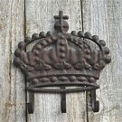 BEAUTIFUL DISTRESSED METAL CROWN 3 HOOK RACK HANGING HOOKS COATRACK