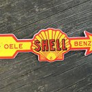 QUALITY ENAMEL YELLOW SHELL ARROW SIGN PLAQUE VINTAGE STYLE GARAGE WALL BENZIN