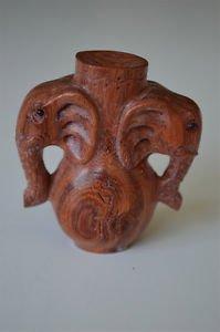Antique style oriental hand carved boxwood elephant vase netsuke H10