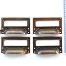 A set of 4 vintage aged brass filing cabinet label holder drawer pull handle FD2