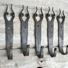 SET OF 5 HANDMADE BULL HORN WROUGHT IRON COAT HOOKS HAND BEATEN WALL HOOK BH15