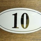 ANTIQUE STYLE ENAMEL DOOR NUMBER 10 HOUSE NUMBER DOOR SIGN PLAQUE