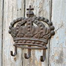 ANTIQUE STYLE RUSTED IRON ROYAL CROWN COAT RACK COAT HOOK HOOKS HANGER