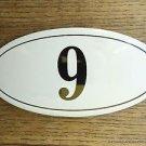 ANTIQUE STYLE ENAMEL DOOR NUMBER 9 HOUSE NUMBER DOOR SIGN PLAQUE