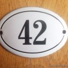 SMALL ANTIQUE STYLE ENAMEL DOOR NUMBER 42 SIGN PLAQUE HOUSE NUMBER FURNITURESIGN
