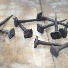 Set of 10 large handmade square head wrought iron nails door stud hanger IN1