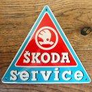 SUPERB VINTAGE TRIANGULAR SKODA SERVICE ENAMEL METAL SIGN PLAQUE