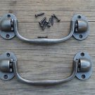 CLASSIC PAIR OF CAST IRON BOX CARRYING HANDLES TRAVEL CHEST HANDLE OB5