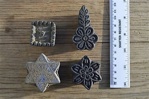 4 Indian antique hand carved wooden printing blocks fabric print block PB2