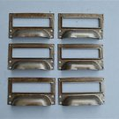SET OF 6 STEEL FILING CABINET LABEL HANDLES FILE DRAWER HANDLE FURNITURE FD1