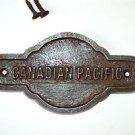 Antique style cast iron Canadian Pacific Railway door sign plaque c/w screws GW3