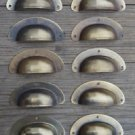 """A SET OF 10 ANTIQUE PRESSED AGED BRASS DRAWER HANDLE FILING INDUSTRIAL 3"""" CB22"""