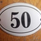 SMALL ANTIQUE STYLE ENAMEL DOOR NUMBER 50 SIGN PLAQUE HOUSE NUMBER FURNITURESIGN