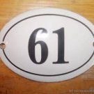 SMALL ANTIQUE STYLE ENAMEL DOOR NUMBER 61 SIGN PLAQUE HOUSE NUMBER FURNITURESIGN