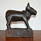 Antique carved wooden cow childs toy holy cow deity folk art wood sculpture 1