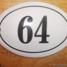 SMALL ANTIQUE STYLE ENAMEL DOOR NUMBER 64 SIGN PLAQUE HOUSE NUMBER FURNITURESIGN