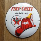 FANTASTIC RETRO TEXACO FIRE CHEIF GASOLINE ENAMEL METAL ADVERTISING SIGN PLAQUE